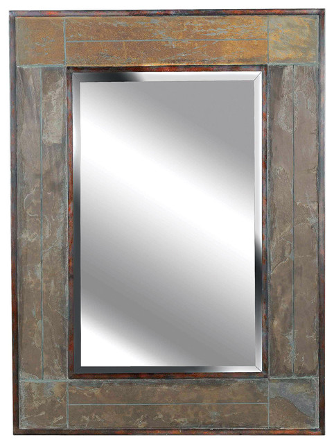 White River Wall Mirror, Natural Slate Finish.