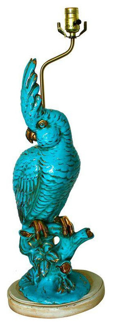 Beau Vintage Porcelain Parrot Table Lamp In Turquoise