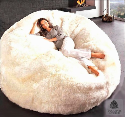 FIBRE by AUSKIN Sheepskin Bean Bag Chairs Jumbo 6'
