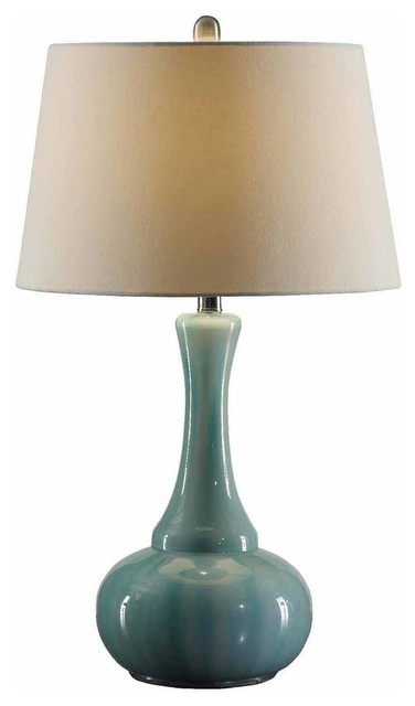 Alden Opaque Blue Glass Table Lamp 27 5 Tall 16 Dia White Linen