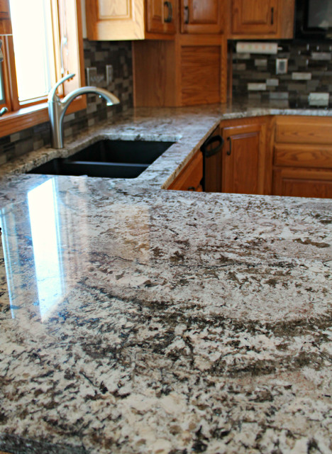 White Torroncino Granite Kitchen Transitional Kitchen