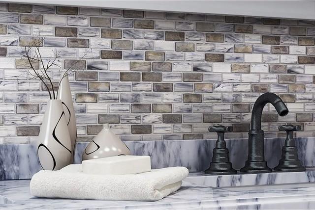 Gl Subway Tile Backsplash Aged Silver Contemporary Mosaic