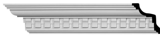 4 1//4H x 3 7//8P x 5 3//4F x 94 1//2L Ekena Millwork MLD04X04X06BU Bulwark Dentil Crown Moulding Factory Primed