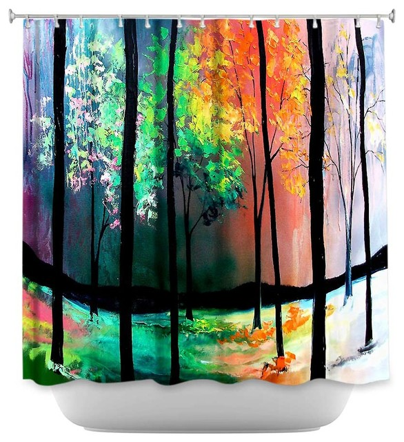 Amazing Shower Curtain Unique From DiaNoche Designs   The Four Seasons Contemporary  Shower Curtains