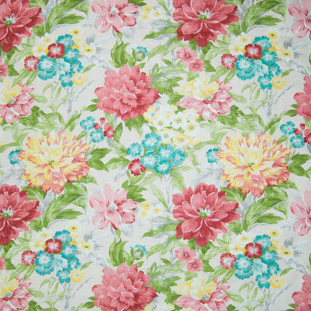 Eggshell Pink Floral Linen Made in USA Print Upholstery