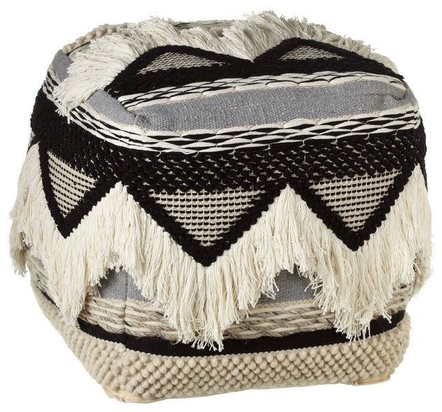 Hand Woven Black And White Triangle Pouf With Fringe.