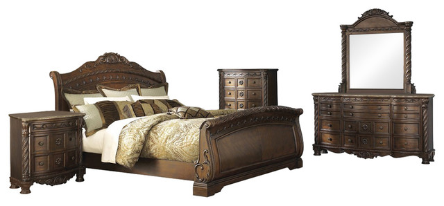 Ashley North Shore 5 Piece Bedroom Set Sleigh With Chest Brown Victorian Bedroom Furniture