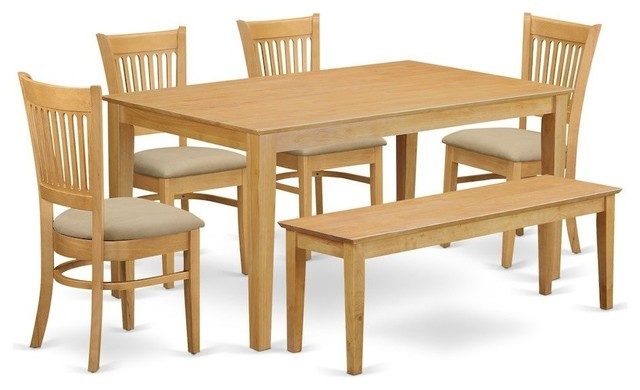 6-Piece Table Set, Kitchen Table And 4 Dining Chairs Combined With Wooden Bench by East West Furniture