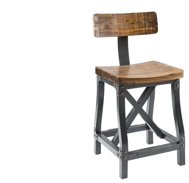 Cheyenne Rustic Urban Stool wOptional Back f industrial bar stools