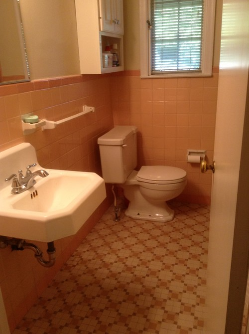 Working with 40 39 s peachy tile bathroom for Updating a bathroom
