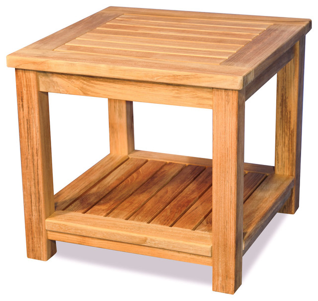Small Teak Side Table.Teak Small Coffee Table Or End Table With Shelf