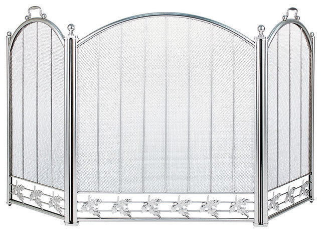 Brushed Steel Screen Traditional Fireplace Screens By Achla Designs