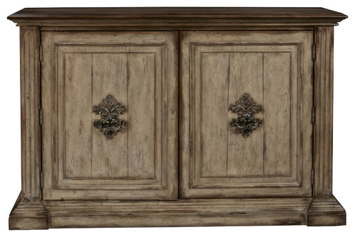 Hand Painted Traditional Distressed Two Door Accent Storage Console