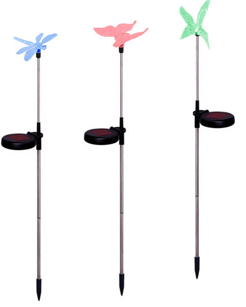 Hummingbird, Butterfly & Dragonfly Color-Changing Solar Stake Lights, Set Of 3.