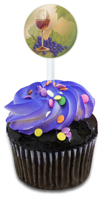 Wine Glass And Grapes Cupcake Toppers Picks Set.