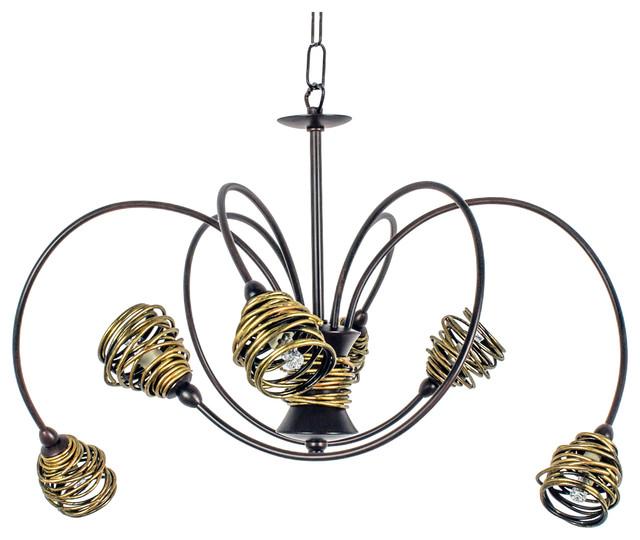 Lima Baroque 6 Light Wrought Iron Twisted Pendant Light