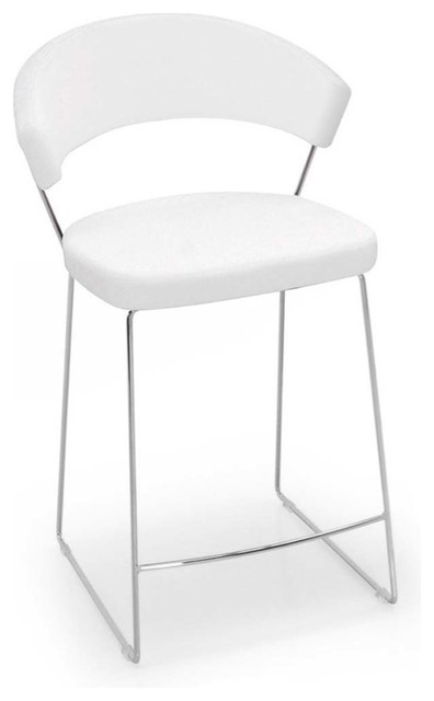 New York Counter Stool Leather Optic White