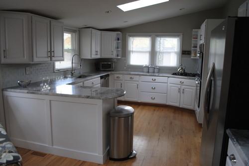 Making an oak kitchen white- Our updated kitchen