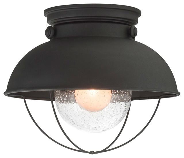 Industrial Farmhouse Flush Mount Ceiling Light Bubble Glass Shade, Matte Black.