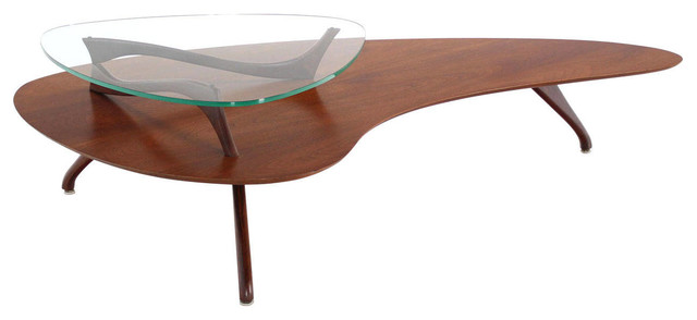 Organic Shape Walnut And Glass Coffee Table Midcentury Coffee Tables