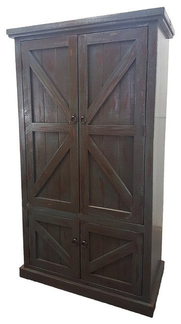 Rustic Double Door Armoire In Rustic Antique Black  Transitional Armoires And Wardrobes