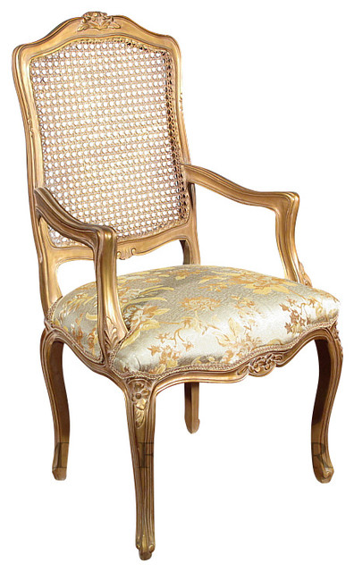 Gold French Style Rattan Back Floral Occasional Accent Arm Chair