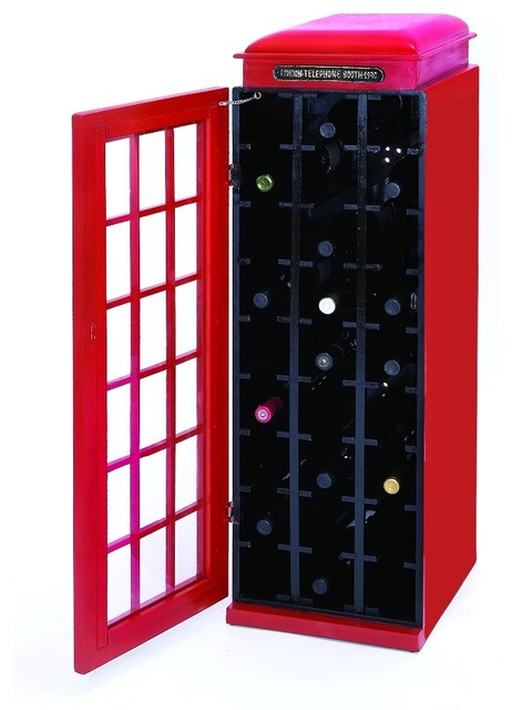 Old Fashioned Phone Booth Wine Cabinet Red Home Bar Decor 50118