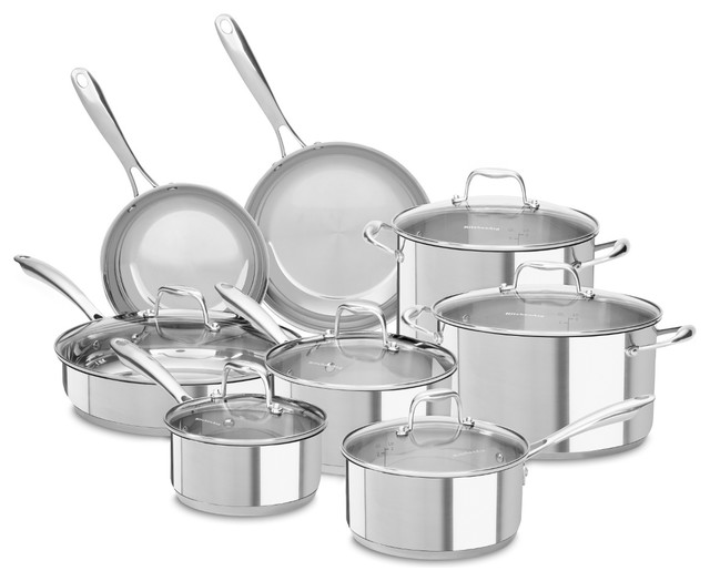 kitchenaid kcss14ls 18 10 stainless steel 14 pc cookware set with rh houzz com