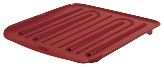 Rubbermaid Dish Drainer Tray, 14.25x15.5, Plastic, Red.