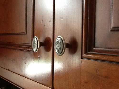 Shiny Spots Around Door Pulls On My Wood Mode Cabinets