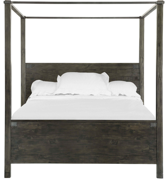 Magnussen Abington Poster Bed In Weathered Charcoal, King.