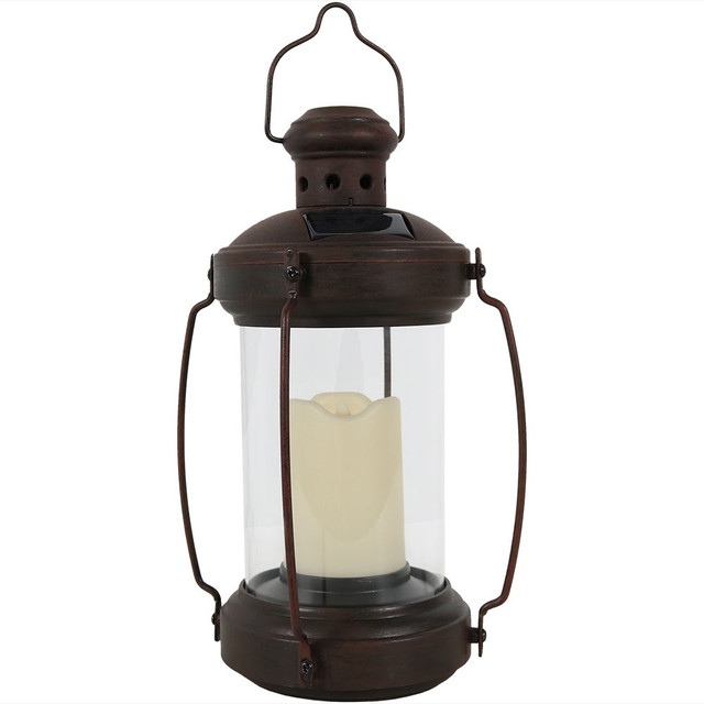"Sunnydaze 12"" Outdoor Antique Hanging Solar Lantern With Candle and LED"