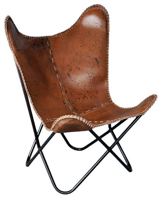 Pair Genuine Leather Butterfly Chair Folding Lounge Modern Sling Accent Seat