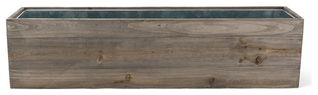 "Natural Wood Window Box Planter With Zinc Liner, 24""x6""x6"", 1 Piece"