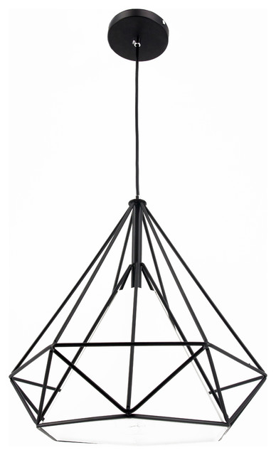 Industrial Diamond Iron Cage Pendant Lighting Black Metal