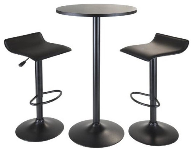 Obsidian 3-Piece Pub Set, Round Table With 2 Airlift Stools-Black.
