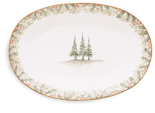 Arte Italica Christmas Natale Oval Platter - ChristmasTablescapeDecor.com