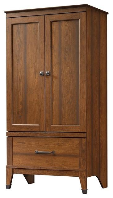 Bedroom Wardrobe Cabinet Storage Armoire, Medium Brown Cherry Wood Finish.