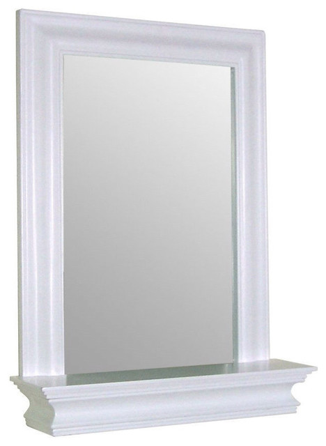 Framed Bathroom Mirror Rectangular Shape With Bottom Shelf White Wood Finish Traditional