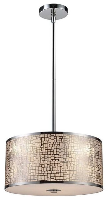 Elk Lighting 31046 3 Medina Modern Drum Pendant Light In Aged Bronze Contemporary By Mylightingsource