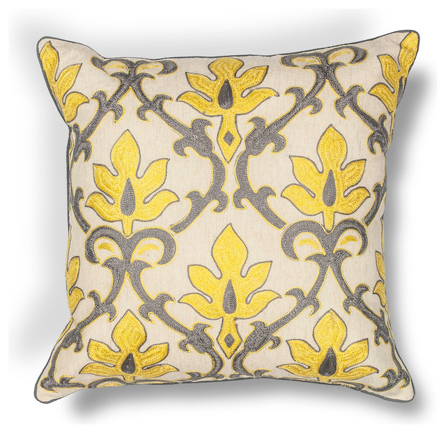 "L196 Yellow-Gray Damask Cot-Lin, Emb, 18""x18""."