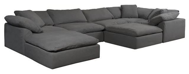 7-Pc Slipcovered Modular Sectional Sofa with Ottomans Performance Fabric  Gray