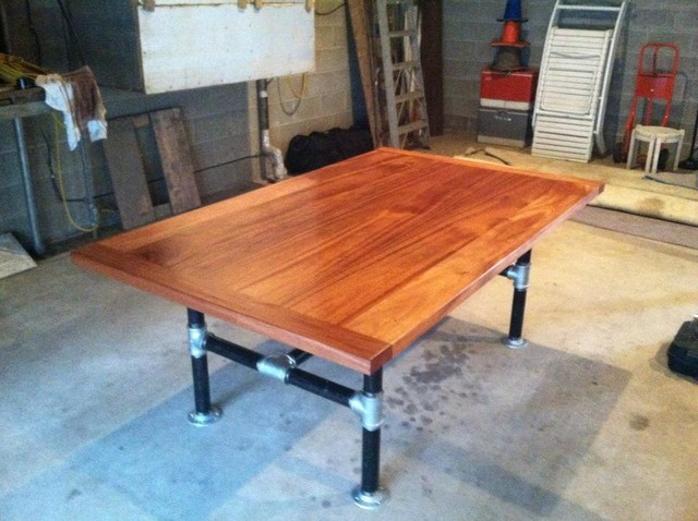 Mahogany And Iron Pipe Dining Room Table Farmhouse