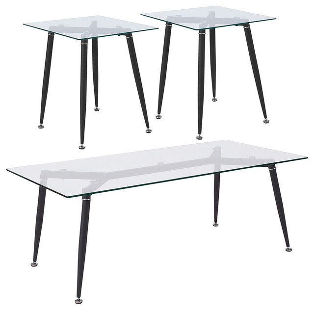 3 Piece Coffee & End Table Set With Glass Tops And Sleek Matte Black Metal Legs.