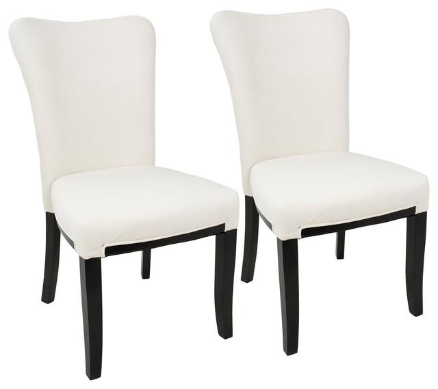 LumiSource Olivia Dining Chair, Espresso Wood And Cream Velvet, Set Of 2