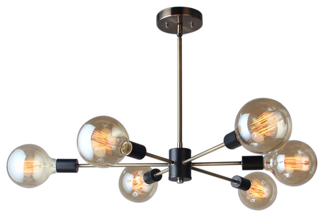 16116-G125 Ethan 6-Light Chandelier, Brushed Brass and Black