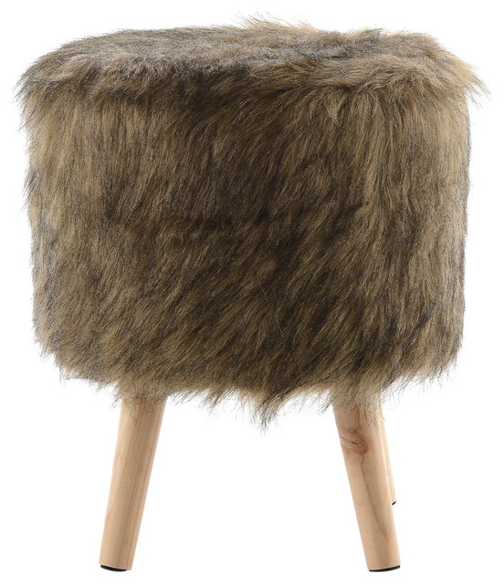Faux Fur Wood Leg Stool Brown, Square And Round, Round.