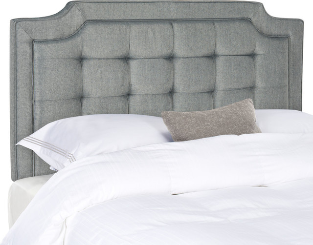 Safavieh Sapphire Tufted Linen Headboard, Gray, King.