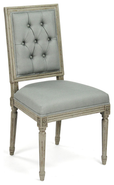 Elegant Pair French Country Louis XVI Sage Green Tufted Linen Dining Chair  Traditional Dining Chairs