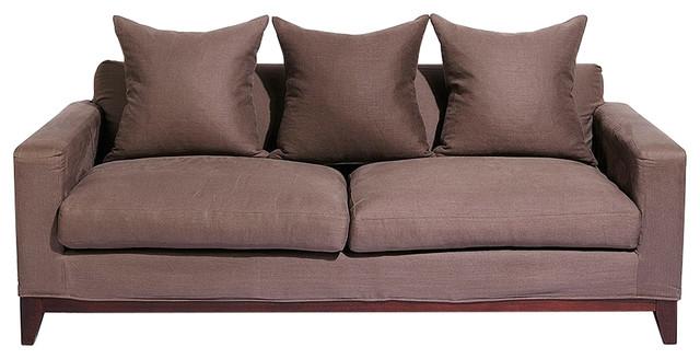 Nusa 3-Seater Sofa, Charcoal, Dark Wood